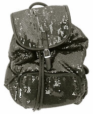Backpack Sequin Black  Bling Handbag Women Girls School Gym Books Cheer Dance