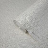 Gray off white faux Sackcloth Woven fabric textured plain modern wallpaper rolls