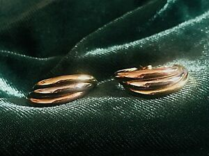 Vintage Gold Earrings 9ct, Three Colours, Hoop, Gift bag (Russian ring style)