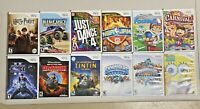 WOW LOT(12) WII Games Skylanders,Tin Tin,Harry Potter,Carnival,Star Wars,Dragon