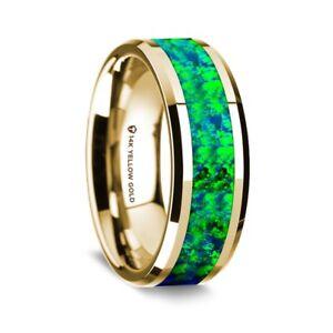 14K Yellow Gold Polished Beveled Edges Wedding Ring Opal Inlay