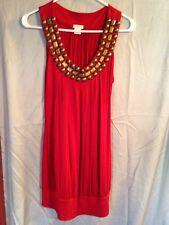 Women's Sleeveless Beaded Top Medium Red