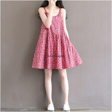 Women Vintage Cotton Linen Summer Sundress Loose Casual A Line Tunic Maxi Dress