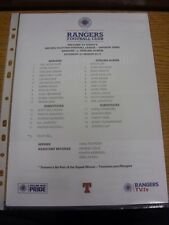 23/03/2013 Colour Teamsheet: Rangers v Stirling Albion  (Light Fold). Thanks for