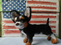 Needle felted wool chihuahua mini sculpture one of a kind