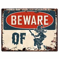 PP1912 Beware of WITCH Plate Chic Sign Home Store Halloween Decor Gift
