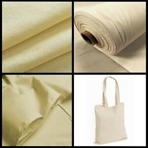 """Calico Cotton Fabric Natural Canvas Plain 60"""" Woven Medium Weight Upholstery"""