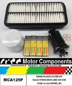 Spark Plug & FILTER KIT Air Oil Fuel Suzuki VITARA SE416 LWB G16B 1.6L 8/91-4/98