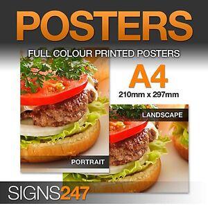 POSTER PRINTING SERVICE - A4 - Matt, Satin or Gloss Paper - Poster Printing