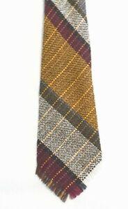 NEW Vintage VARDOC FABRICS of OXFORD Tweed Tie, Hand Woven 100% Wool, Raw Edge#
