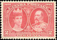 Mint H Canada F-VF Scott #98 2c 1908 Quebec Tercentenary Issue Stamp