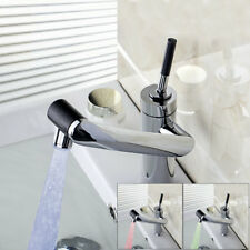 AS LED Bathroom Swivel Spray Basin Sink Faucet Deck Mounted Mixer Tap Chrome i2