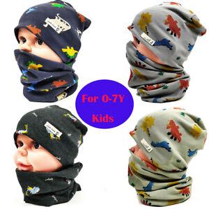 Baby Toddler Dinosaur Cotton Beanie Hat Collar Scarf Set Boys Spring Autumn Caps