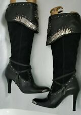 Cool Rock Chic RIVER ISLAND Black Suede and Leather Knee High Boots  Size 5