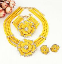 Yellow Elegant 3 layers Beads with flower Necklace Earring bracelet Jewelry Set