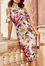 Lipsy Pink Floral Print Cold Shoulder Bodycon Dress Size 12 BNWT Cocktail Party