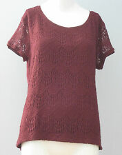 New VERVE AMI Size M Brandy Wine Short Sleeves Lace  Blouse