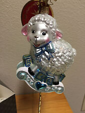 Retired Christopher Radko Lamb Baa Baa Baby Boy Christmas Ornament Blue 1017608