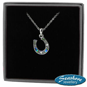 Horseshoe Necklace Paua Abalone Shell Pendant Womns Silver Jewellery Gift Boxed