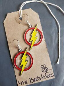 The Flash Barry Allen enamel charm handmade earrings silver earwires hooks