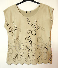 GREY LADIES CASUAL PARTY TOP BLOUSE FAUX SUEDE F&F SIZE 8