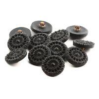 Lot (12) Czech Vintage matte black imitation rhinestone lacy glass buttons 18mm