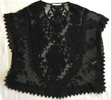 Black Sheer Embroidered Lace Dolman Top With Black Lace Trim Sz XS/S EEUC