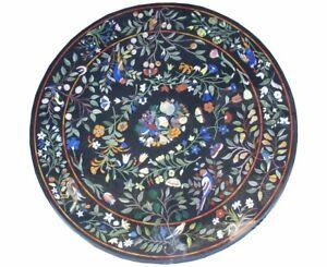 "36"" Black Marble Table Top PietraDura inlay handicraft work home decor furniture"