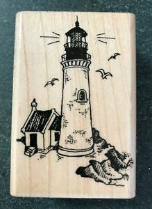 """Lighthouse Vintage Rubber Stamp Stampendous H37 Vintage 1989 2.5"""" x 1.75"""" VTG"""