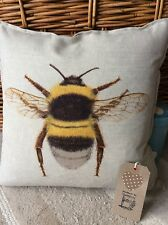 Handmade cushion cover Bumblebee design vintage style traditional linen blend