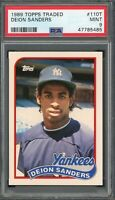 Deion Sanders Yankees 1989 Topps Traded Baseball Rookie Card RC #110T PSA 9