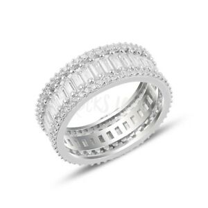 RHODIUM PLATED 925 SILVER ETERNITY RING - BAGUETTE CUT CUBIC ZIRCONIA 3mm WIDTH