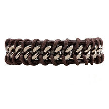 Men's Silver Stainless Steel Chain Black Braided Leather Bracelet Cuff Bangle