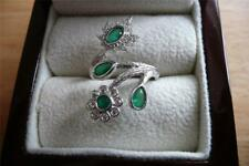 925 Argento Sterling Lab Green Emerald Crossover Flower Ring taglia o US 7.5