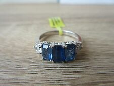 Himalayan Kyanite White Topaz Ring Platinum Overlay Sterling Silver Sz 6, 8 Opt