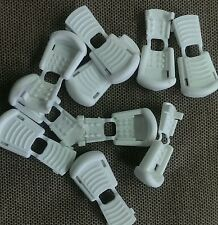 (10) White Plastic Zipper Pulls Cord Ends Paracord Tactical Tab Rope Repair