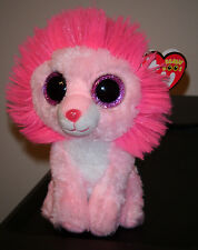 """Ty Beanie Boos ~ FLUFFY the 6"""" Valentine Lion ~ 2014 NEW ~ MINT with MINT TAGS"""
