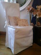 Vintage French Chair/Seat Slip Cover~Homespun Woven Cotton Textile~Interior Deco
