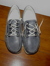 ECCO Time Leather Women's Gray Blue Lace Up Walking Shoes Size:40