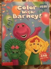 NEW Vintage 1999 Lyons GIANT 440 Pages Color With Barney Coloring Book Huge