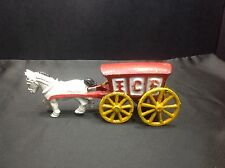 Vintage Cast Iron ICE Wagon Carriage with Horse, Pull Toy
