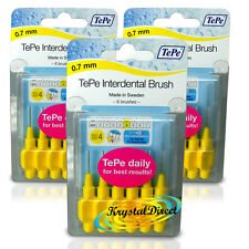 3x TePe 0.7 mm Giallo INTERDENTAL BRUSH Taglia 4 facile da pulire tra i denti confezione da 6
