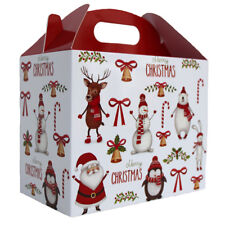 10 x CHRISTMAS SANTA SNOWMAN RUDOLPH GABLE GIFT BOXES - XMAS Gift Hamper Box