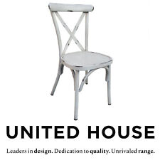 Outdoor Stackable White Cross Back Dining Chair Cafe French Provincial Furniture