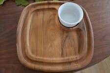 Beautiful VTG Dansk Teak Hors D'Ooeuvres Relish Dip Cheese Serving Tray