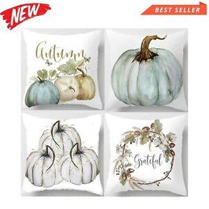 Autumn Pumpkin Halloween Fall Cushion Cover Set Of 4 45cm x 45cm Covers Sofa