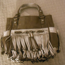 Katherine Kwei Top Nyc Designer Knotted Silver Fringes Taupe Leather Purse M Nwt
