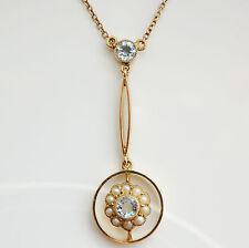 Antico Vittoriano 9 KT ORO ACQUAMARINA & Collana di perle a goccia c1900
