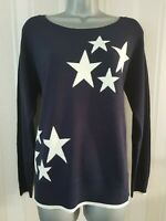 Womens Ladies NEXT Star Print Jumper Top Sweater Navy Jumper Soft Size 6 10