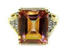 Women's Engagement Ring Emerald Cut Peach Pink Topaz Diamond 14K Yellow Gold